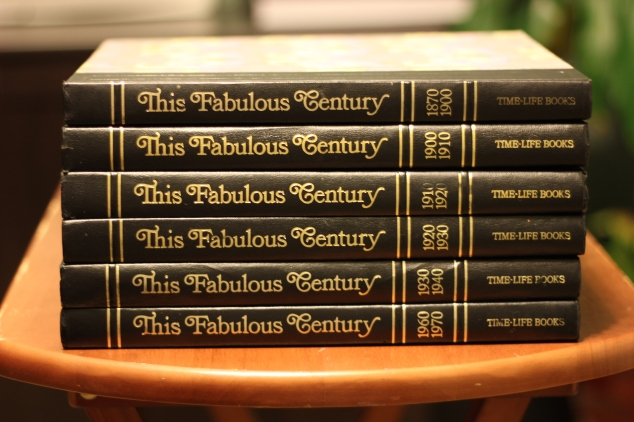 "We picked up this wonderful Time Life Series called ""This Fabulous Century"" It starts with 1870-1900 then each volume is a 10 year span. Sadly 1940-1950 & 1950-1960 were missing, but a quick search on eBay and they are now on their way to me."