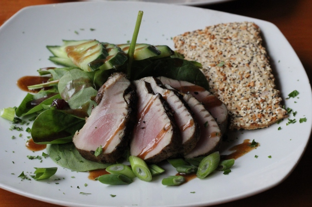 I had the seared Ahi tuna on spinach with a soy sesame dressing. They didn't have many gluten free options, so I was limited. I of course didn't eat the crackers.